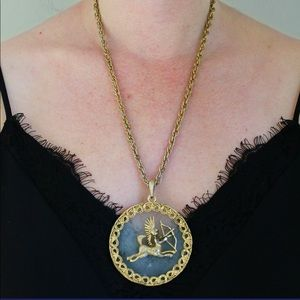 Vintage Sagittarius Gold Chain Pendant Necklace